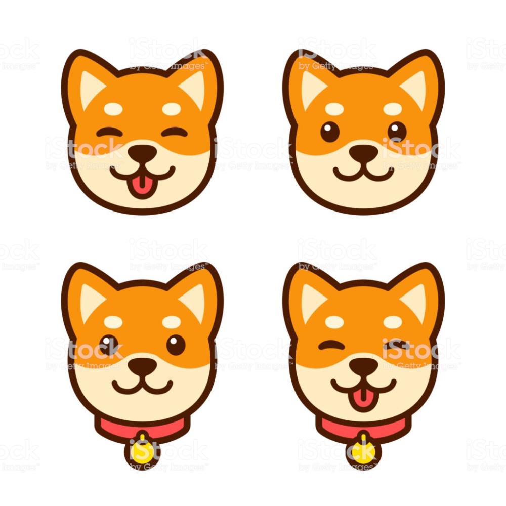 Cute Cartoon Shiba Inu Puppy Face Icon Set Happy Dog With Tongue In 2020 Shiba Inu Puppy Puppy Drawing Shiba Inu