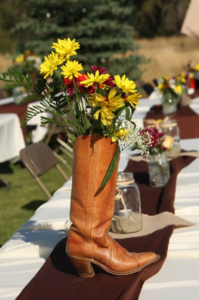 Use all of her old Cowboy boots that we have as centerpieces?