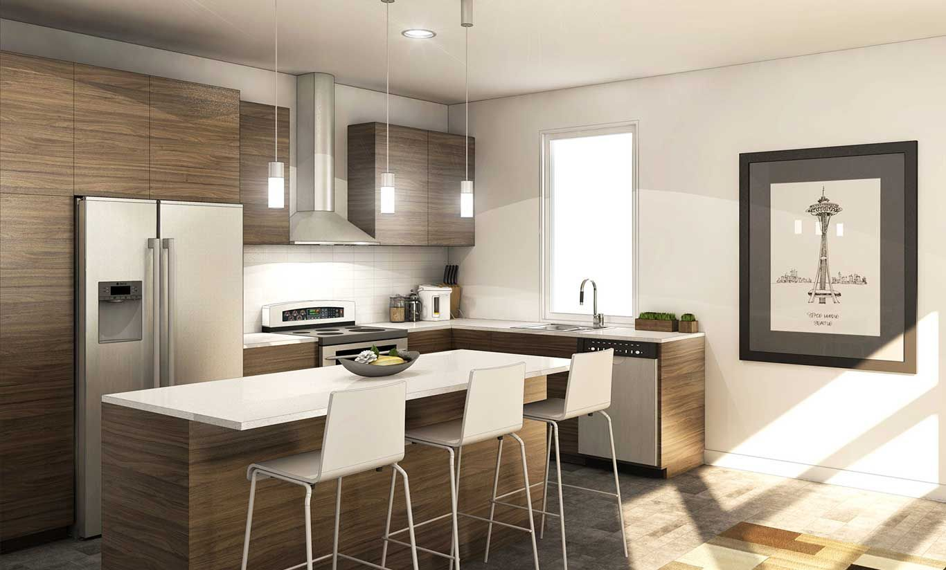 Charmant Seattle Condo. Kitchen Design. Small/Medium Kitchen With Sleek Finishes.  Higher Contrast