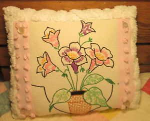 Vintage Linen PILLOW - Embroidery Tulips and VINTAGE CHENILLE