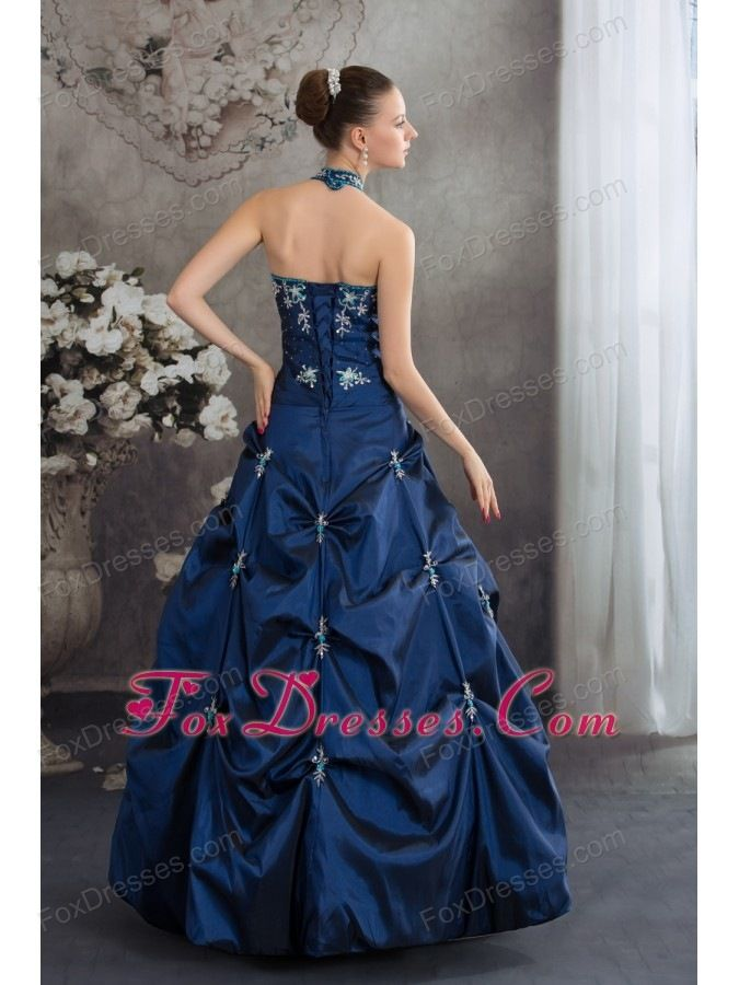 Dark Blue Gorgeous Garden Halter Sleeveless Lace Up Floor Length Pearls Wedding  Dress