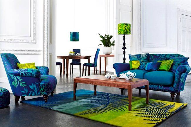 canli-renkli-oturma-odasi Bohemian style Pinterest - wohnzimmer blau grau