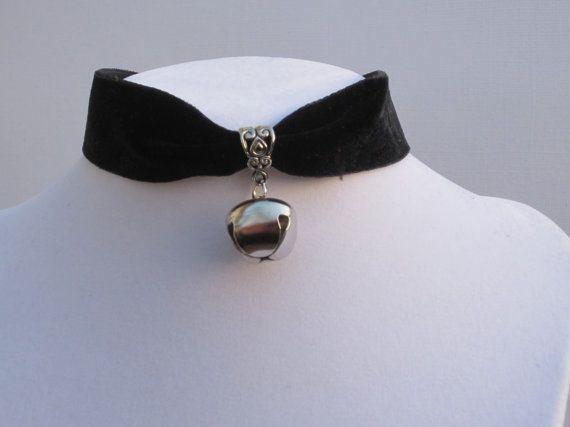 Christmas Sale!! Gothic Cat Bell Black Velvet Choker