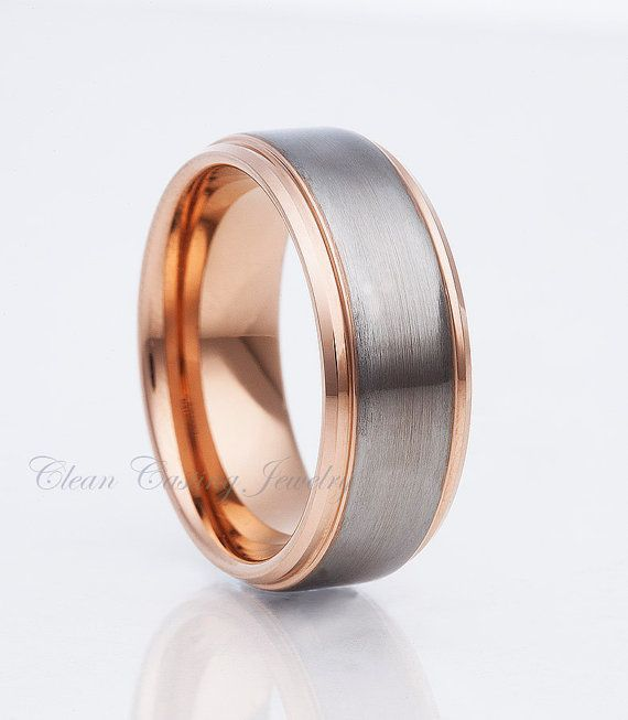 rose gold tungsten wedding bandsmens tungsten bandsatin polishanniversary ring - Mens Rose Gold Wedding Rings