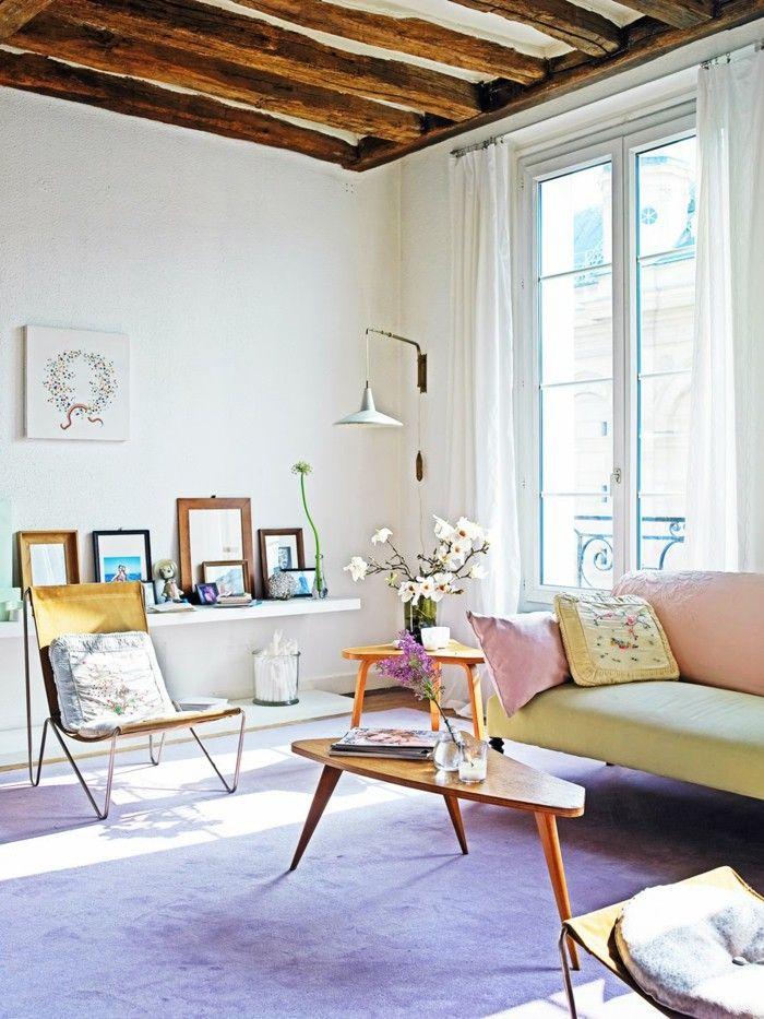 innendesign ideas pastel living room purple carpet flowers