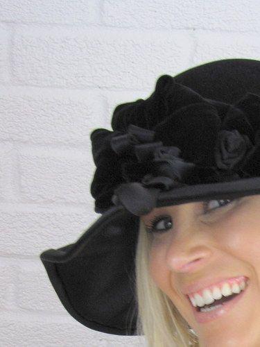 Wide Brim Black Fur Felt Edwardian Style Hat by Christine Moore ... 344bc4c1138