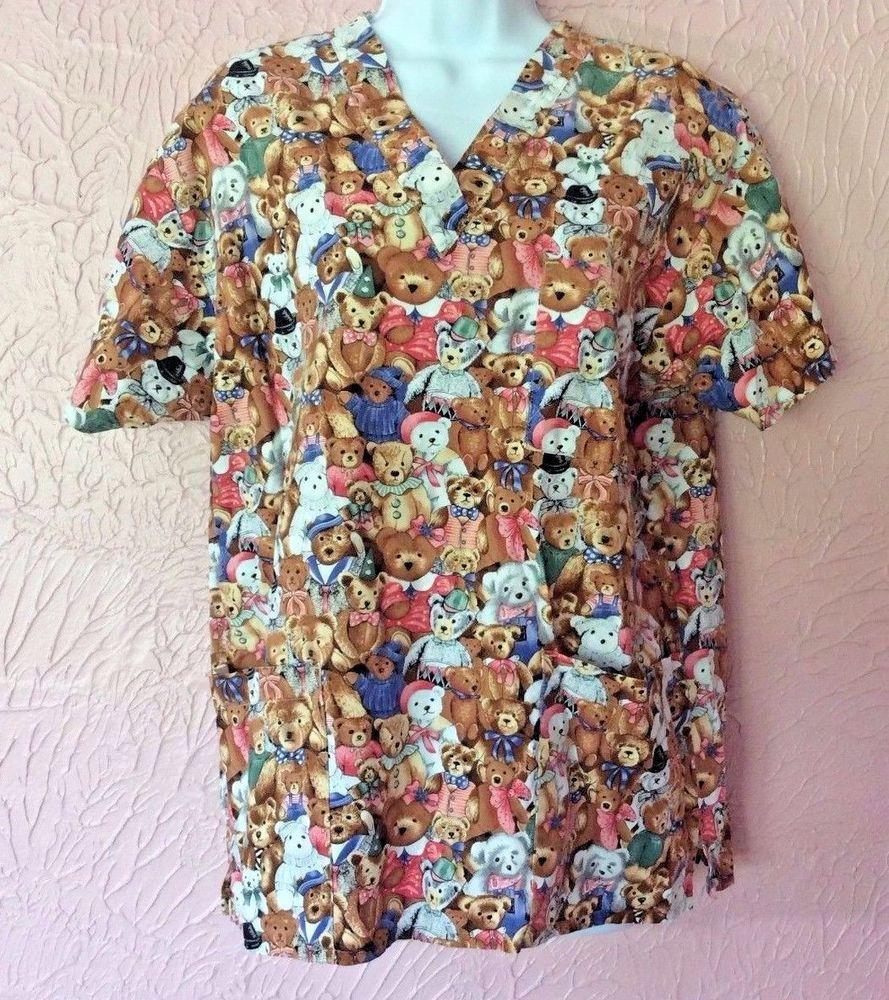 edd53587f6e Peaches Uniforms Womens Scrub Top Size M 42