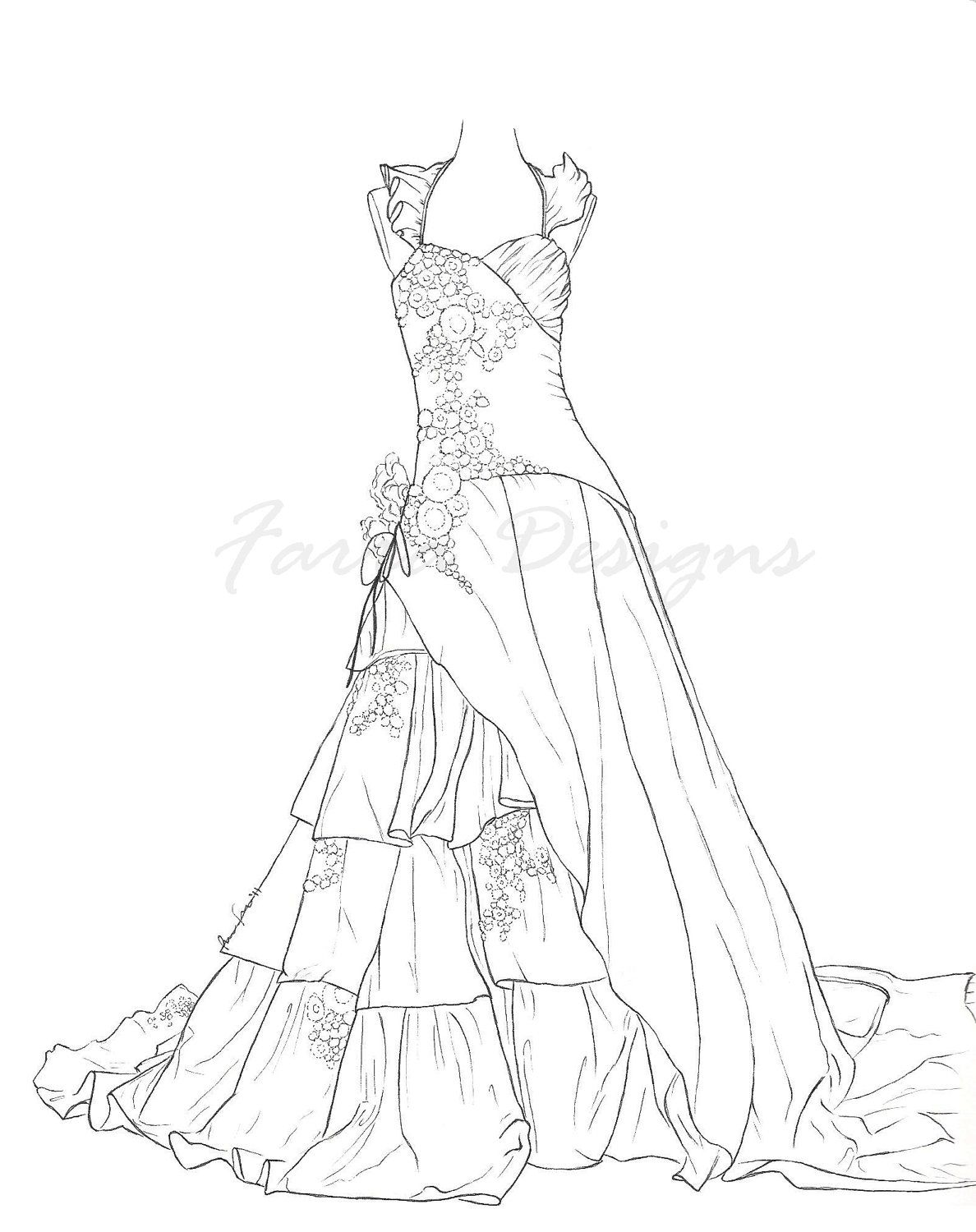 barbie night dress coloring 01 Pinteres