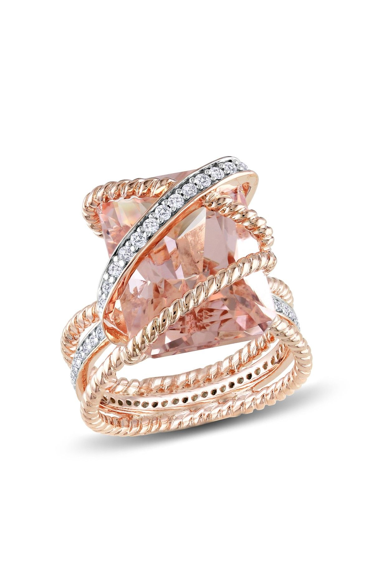 Soft Sweet Rose Gold Jewelry Rectangular Morganite Twisted Design