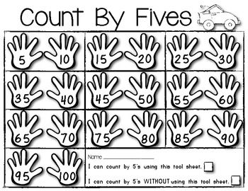 Count By Fives MATH POSTER plus Student Helper TOOL SHEET