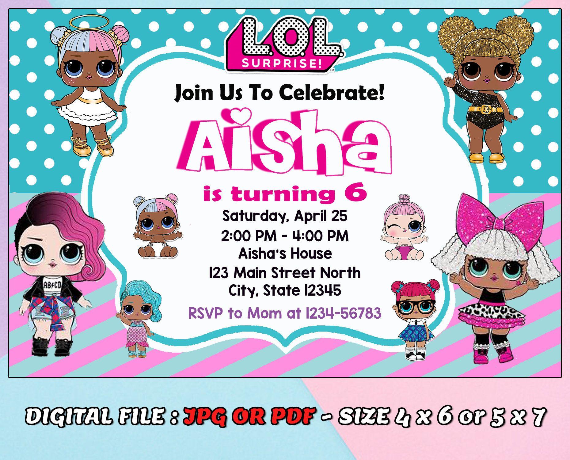 lol doll birthday invitation kids