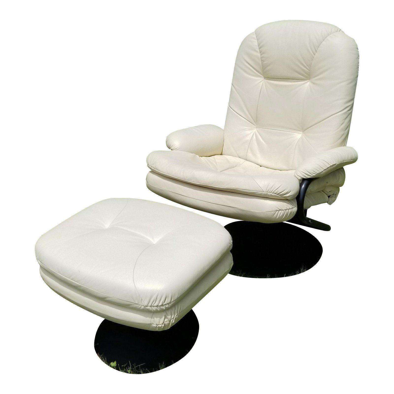 Contemporary Palliser White Leather Swivel Recliner
