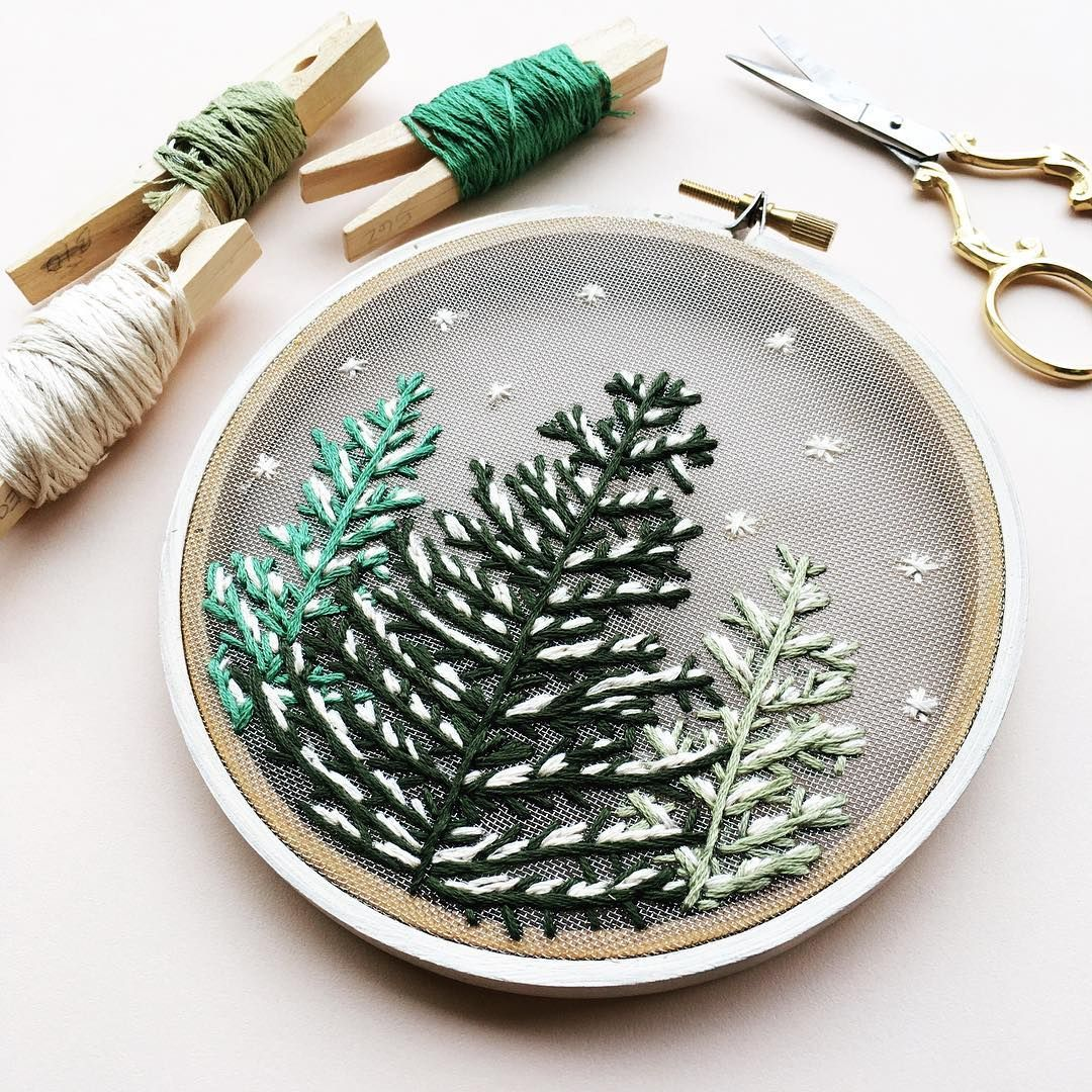 Snowfall, snowy trees on gauze, embroidery ideas | In Threads ...