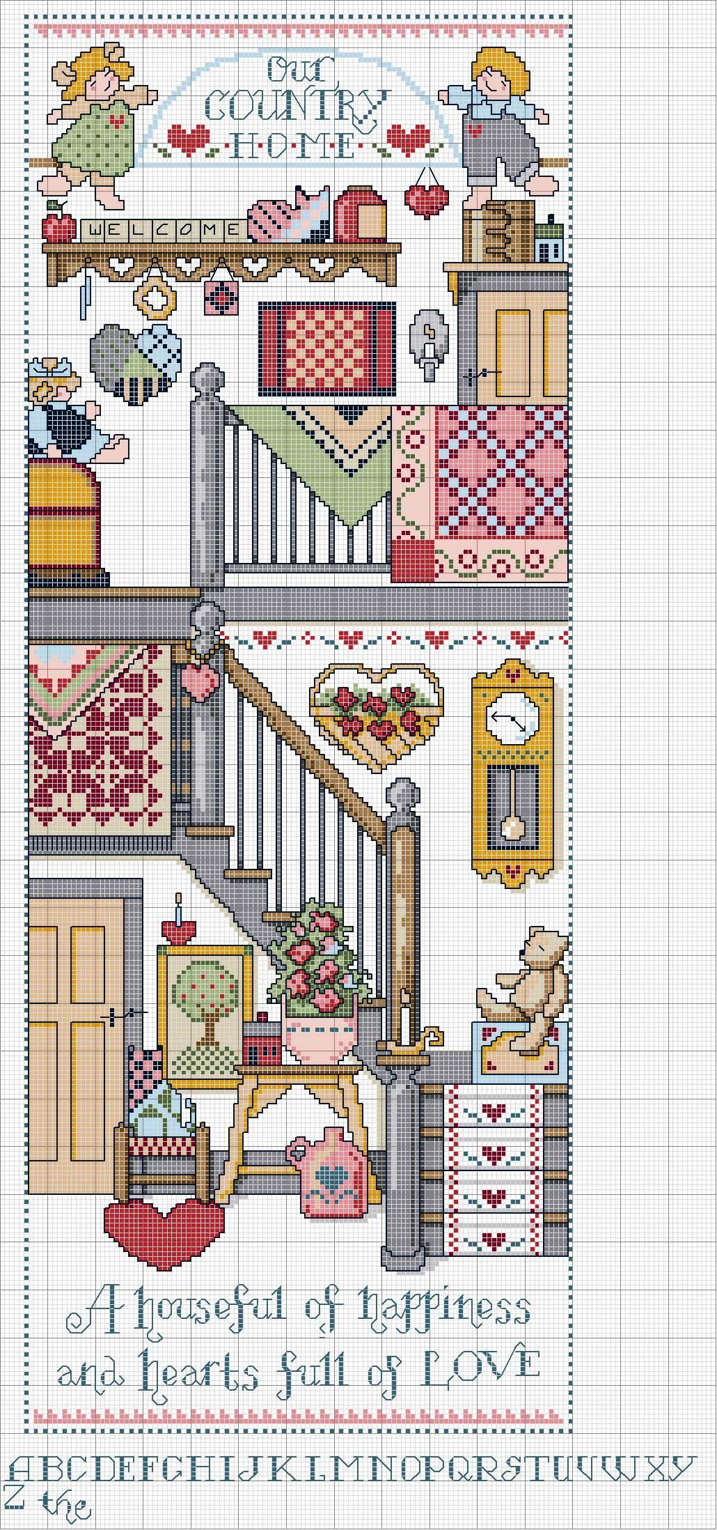 Cross stitch pattern home country una casa piena di - Casa piena di zanzare ...