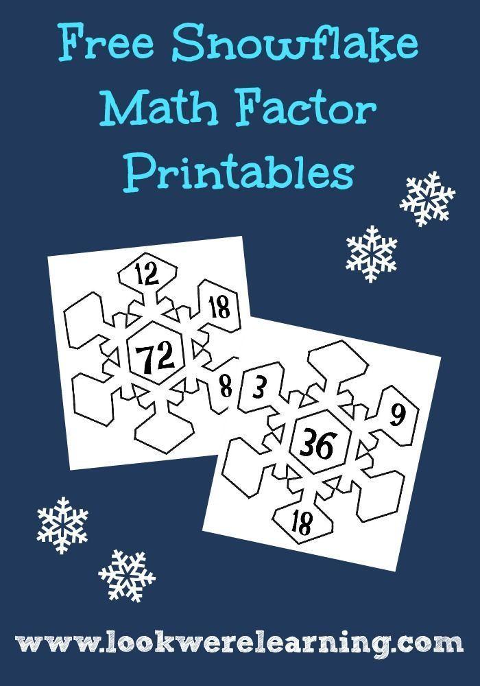 Snowflake Math Factor Printables | Pinterest | Kids work, Maths and ...