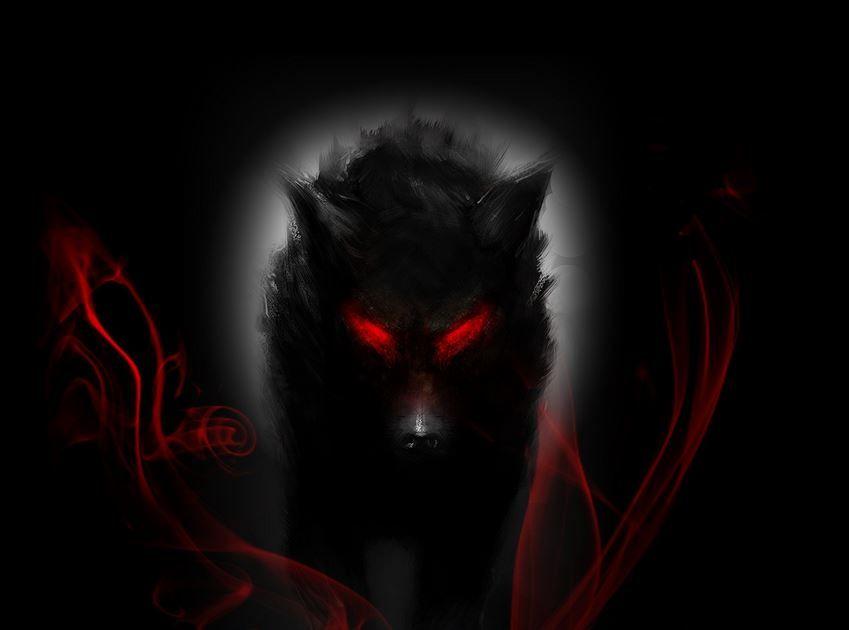 Dark Demonic Wolf Wallpaper