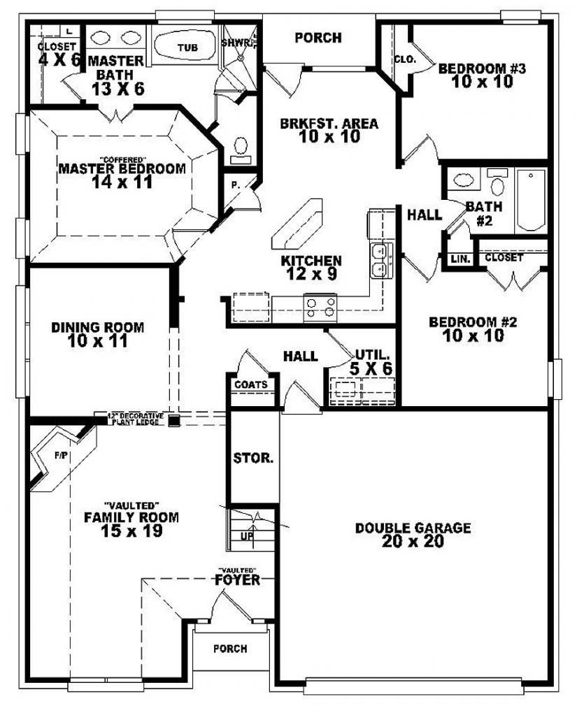 3 br duplex w garage plans bedroom 2 bath french style for Floor plan 3 bedroom 2 bath