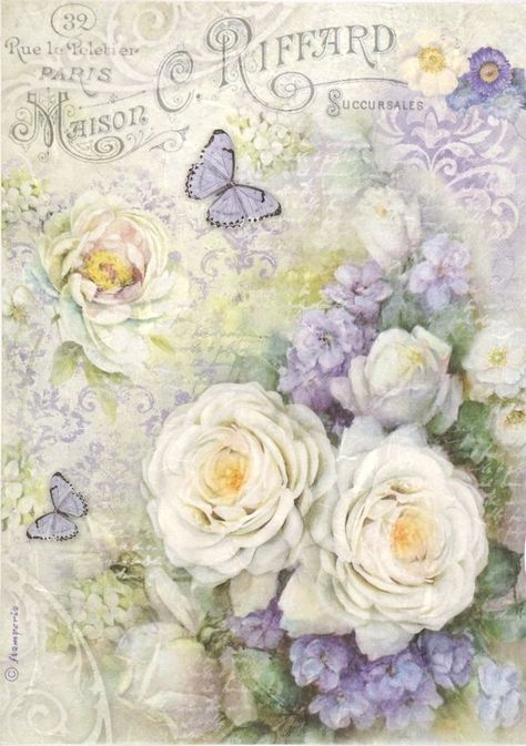 Rice paper Rose and white peonies for Decoupage Scrapbooking Sheet