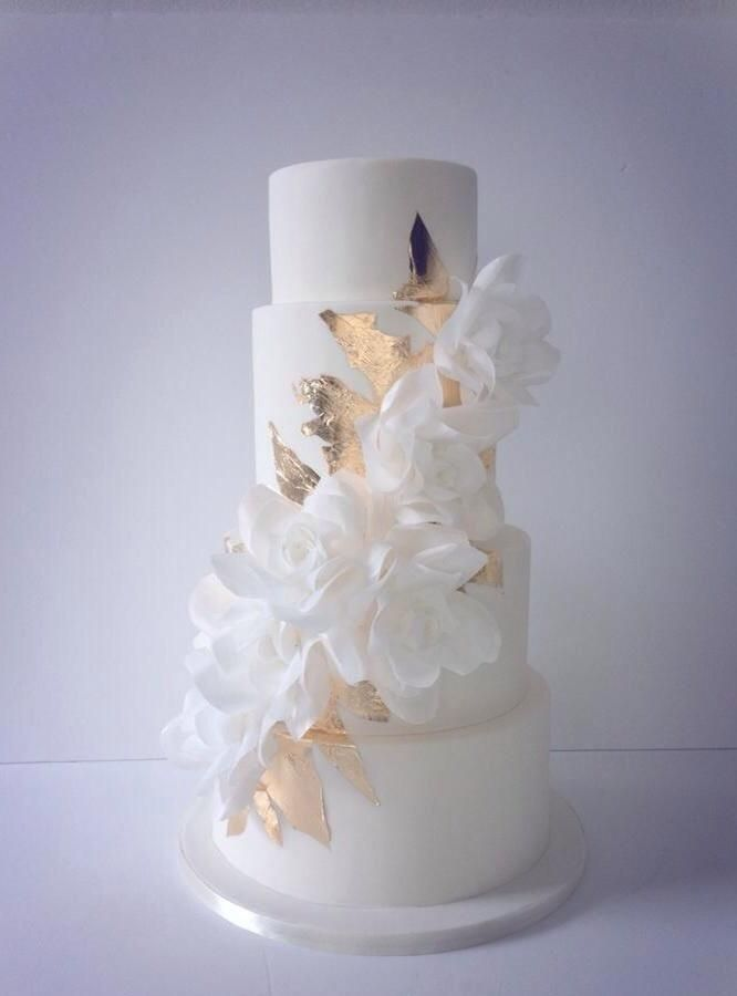 Stunning Cascading Wafer Paper Roses And Gold Leaf Wedding Cake