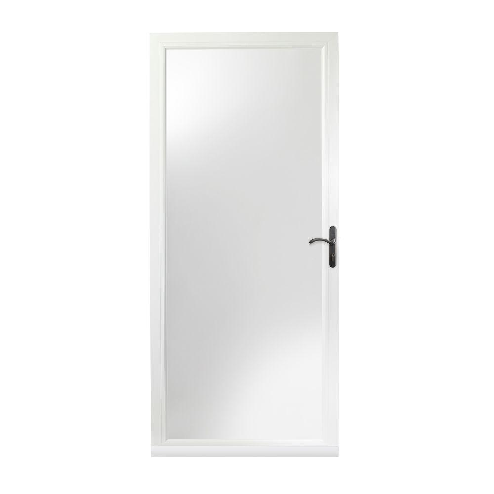 Andersen 36 In X 80 In 3000 Series White Right Hand Fullview Easy Install Aluminum Storm Door With Oil Rubbed Bronze Hardware 3fvoezr36wh The Home Depot Aluminum Storm Doors Storm Door Oil Rubbed