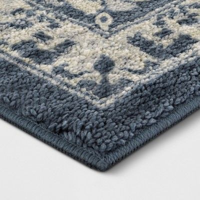 Blue Floral Tufted Accent Rug 1 8 X2 10 20 X34 Threshold Accent Rugs Rugs Vintage Floral