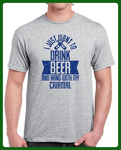 Cairmal I Just Want To Drink Beer with My Dog Funny Pet Lover Men's T-shirt S Sport Grey - Animal shirts (*Amazon Partner-Link)