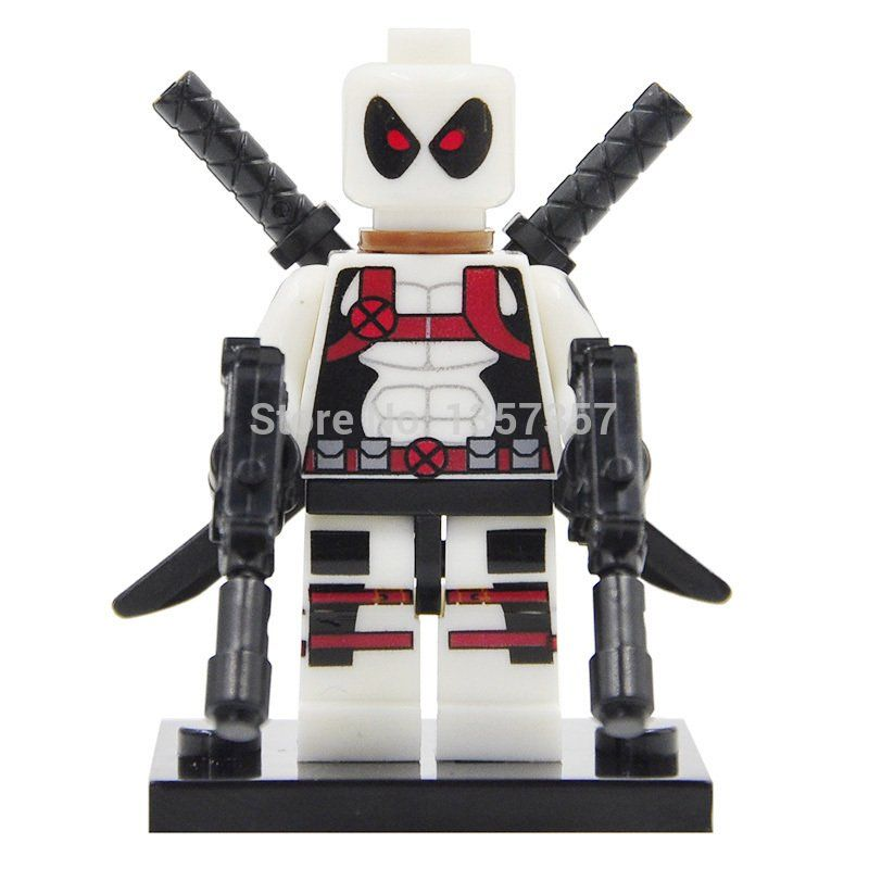 White Deadpool Custom Minifigure Marvel Universe LEGO Compatible