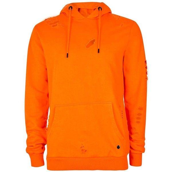 TOPMAN Criminal Damage Orange Distressed Hoodie ($48) ❤ liked on Polyvore  featuring men's fashion