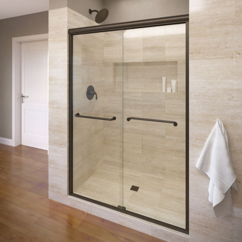 Basco A0054 60cl Frameless Sliding Shower Doors Shower Doors Framed Shower Door