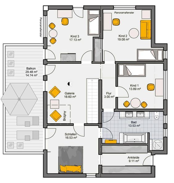 Fertighaus grundrisse einfamilienhaus  Fertighaus Rubitano Grundriss OG | Haus | Pinterest | Grundrisse ...