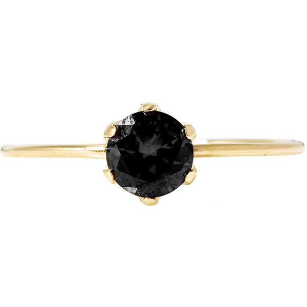 Large Pin Ring (Gold and Black Diamond) ❤ liked on Polyvore featuring jewelry, rings, diamond jewelry, diamond rings, 14k jewelry, black and gold ring and diamond band ring