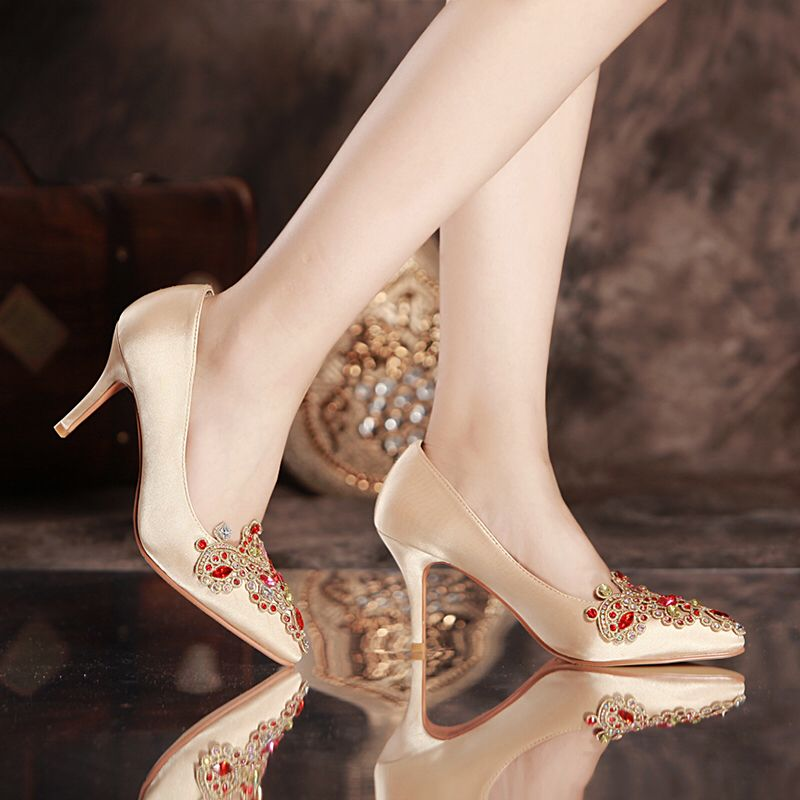 shoes woman rhinestone wedding  red high-heeled  crystal female marry red  pointed toe bridal  embroidered shoes