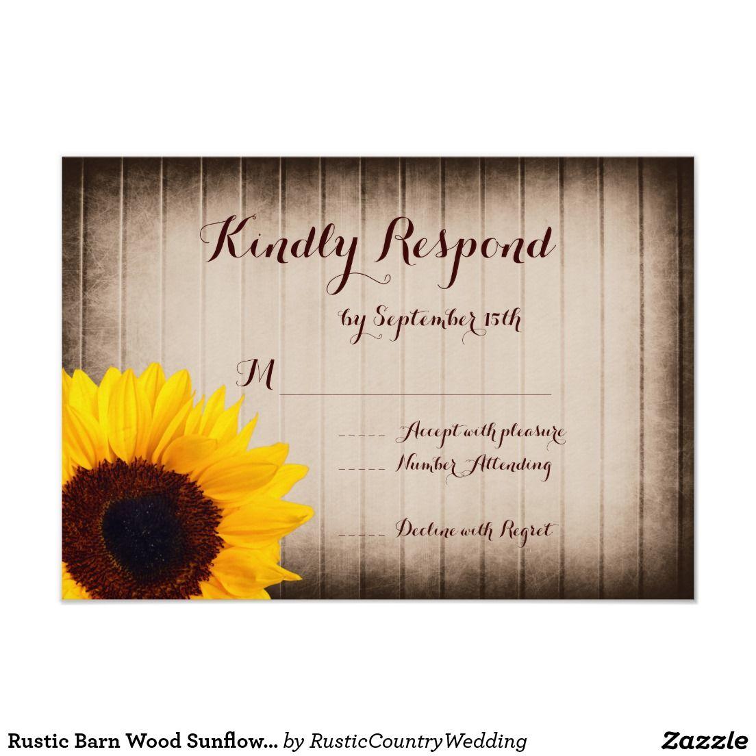 Rustic Barn Wood Sunflower Wedding RSVP Cards