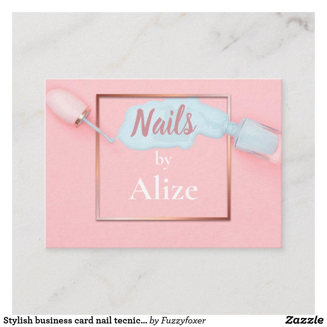 Stylish business card nail tecnician, beauty salon ...