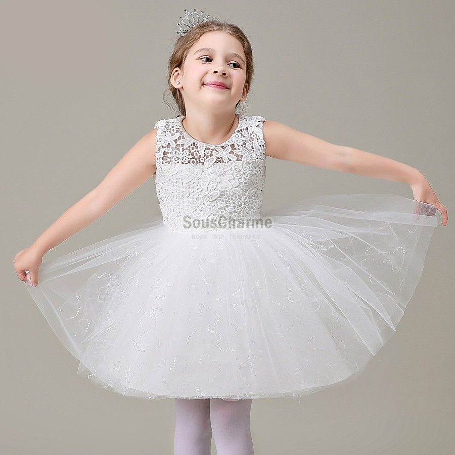 Robe blanche fille tulle