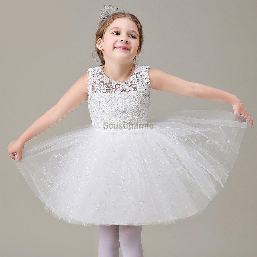 robe mariage enfant fille pas cher en tulle et dentelle blanche jupe pompon aux paillettes. Black Bedroom Furniture Sets. Home Design Ideas