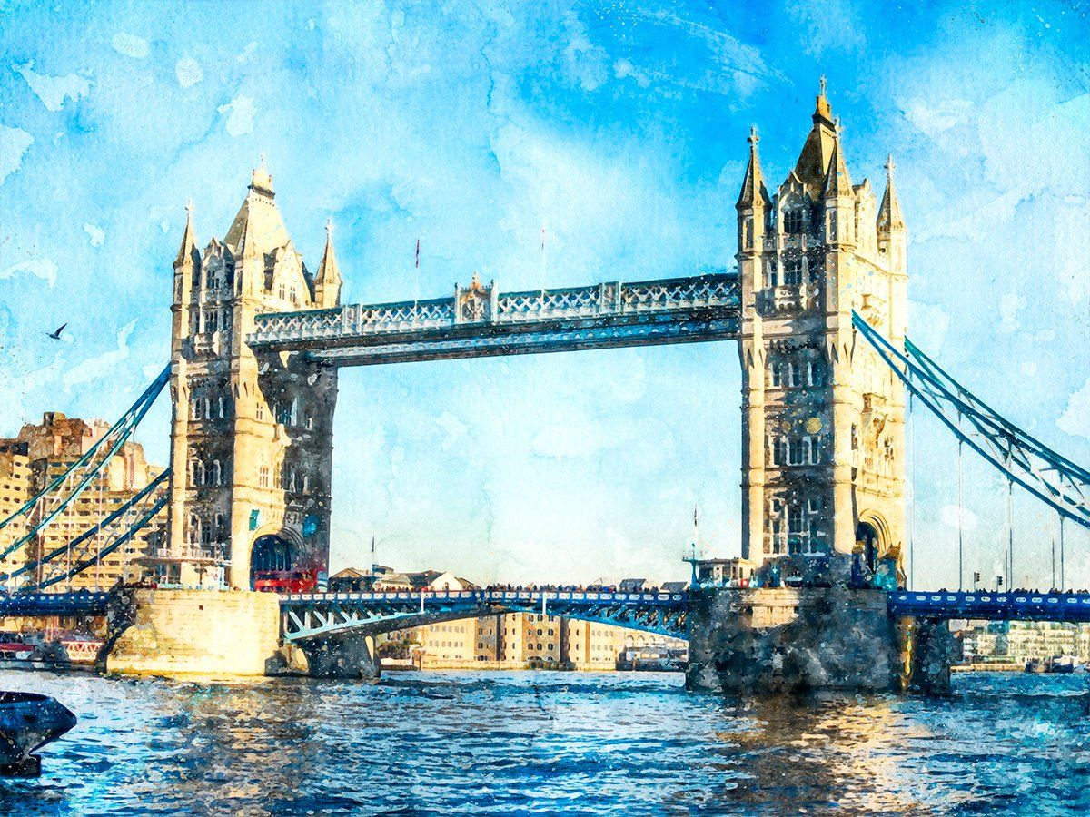 London 2 Tower Bridge Rolled Print Watercolor Landscape London
