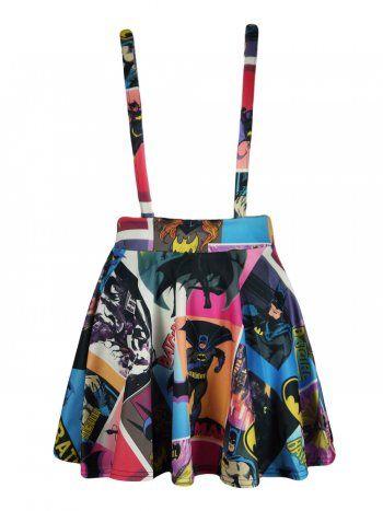 KarmaClothing Purple Pink Batman Collage Cross Strap Dungaree Skater Skirt