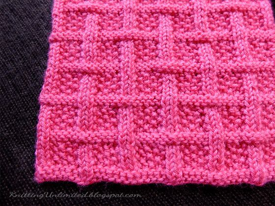 Square Lattice Stitch Pattern Using Only Knit And Purl Pattern Is