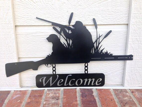 welcome sign outdoor duck hunt shotgun