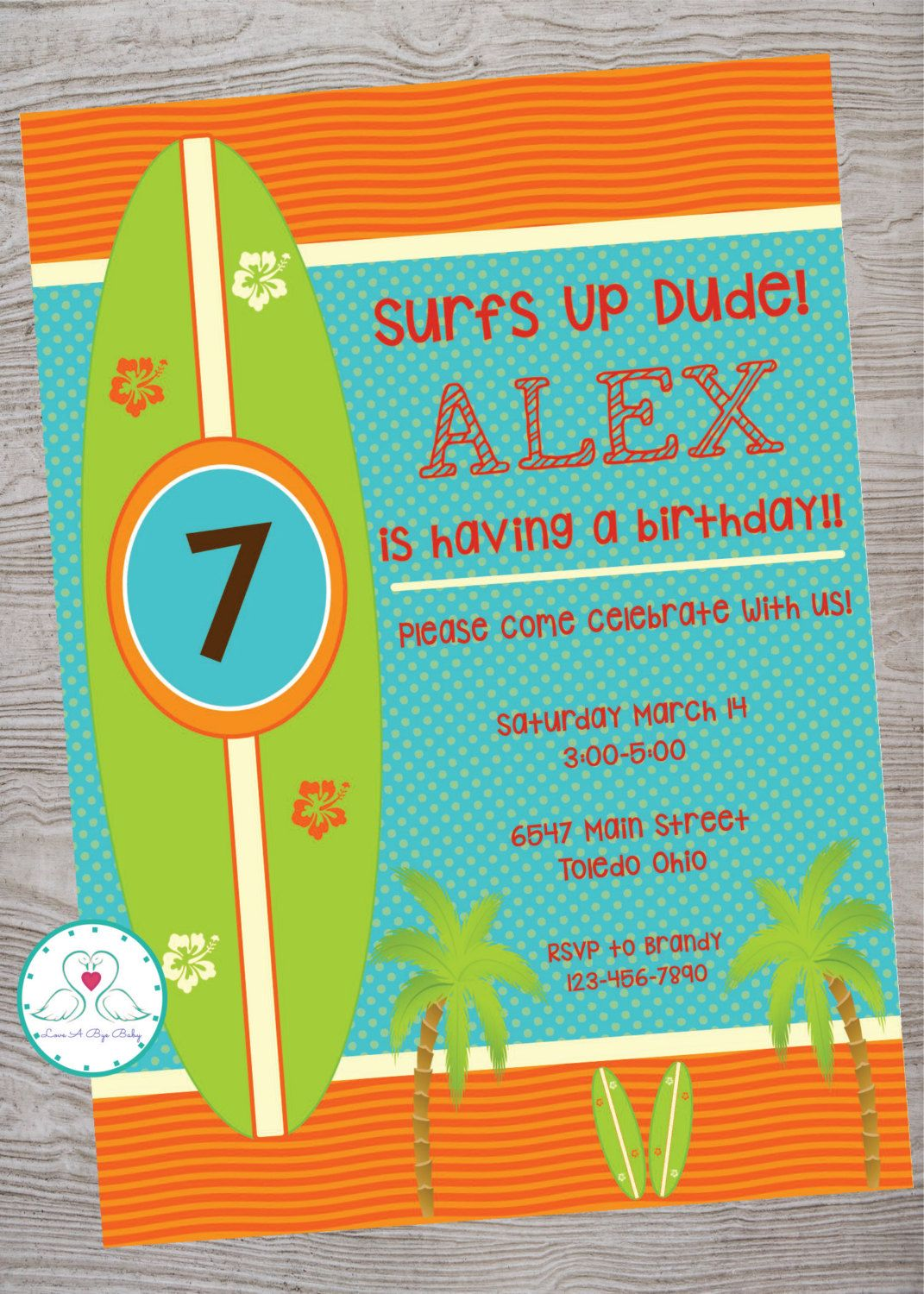 Surfs Up Surfer Party Kid Birthday Invitation Printable Digital Download By LoveAByeBaby On Etsy