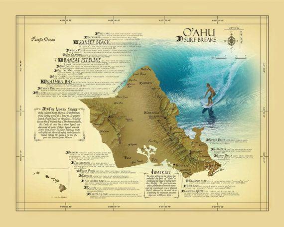 oahu surf break map Oahu Surf Break Map Vintage Inspired By Kokuadesigncompany 25 00 oahu surf break map