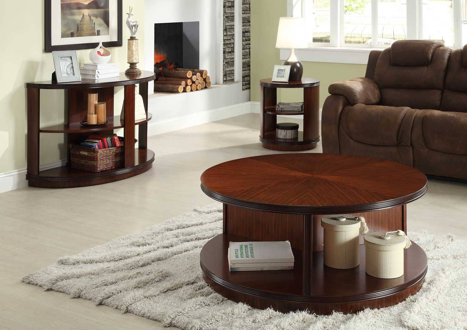 Homelegance Orlin Round Cocktail Table Set Coffee Table With Shelf Wood Sofa Table Home Coffee Tables [ 1059 x 1500 Pixel ]