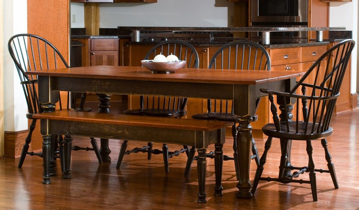 Cherry And Black Farm Dining Table Im Thinking I Might Add A Bench Use My Chairs On New
