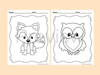 Woodland Forest Animals Coloring Pages - 8 Designs - Fox ...