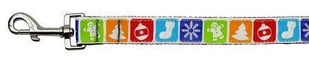 Classic Christmas Nylon and Ribbon Collars . 1'' wide x 4' Leash