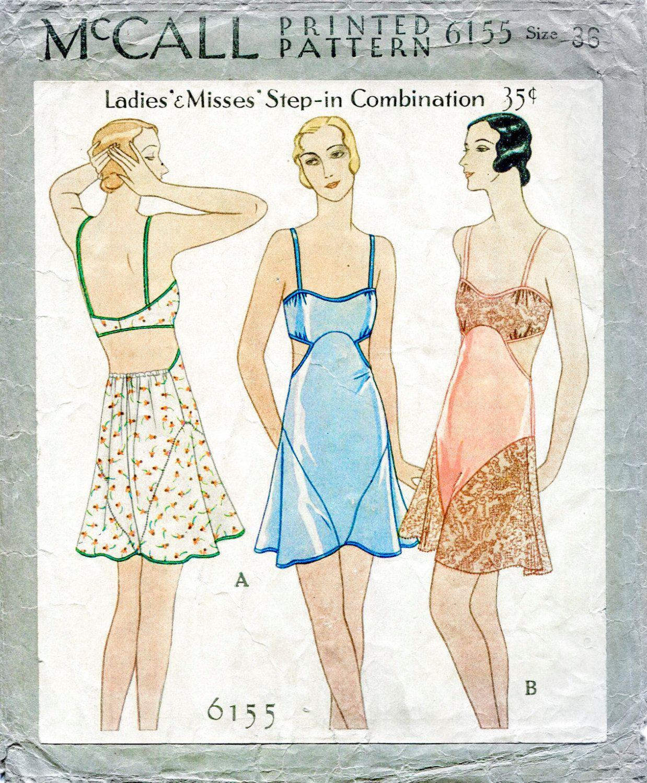 1930s 30s vintage lingerie sewing pattern romper bodysuit lace | Sew ...