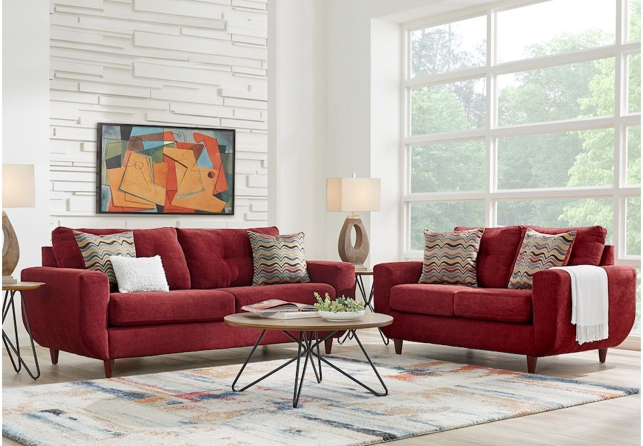 Rowlett Red 2 Pc Living Room Sofas Red Vintage Living Room Living Room Sets Furniture Living Room Leather