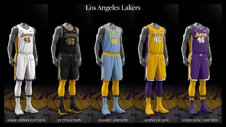 Ranking The Nba S New Nike Designed Uniforms Basketball Uniforms Design La Lakers Jersey Lakers Blue Jersey