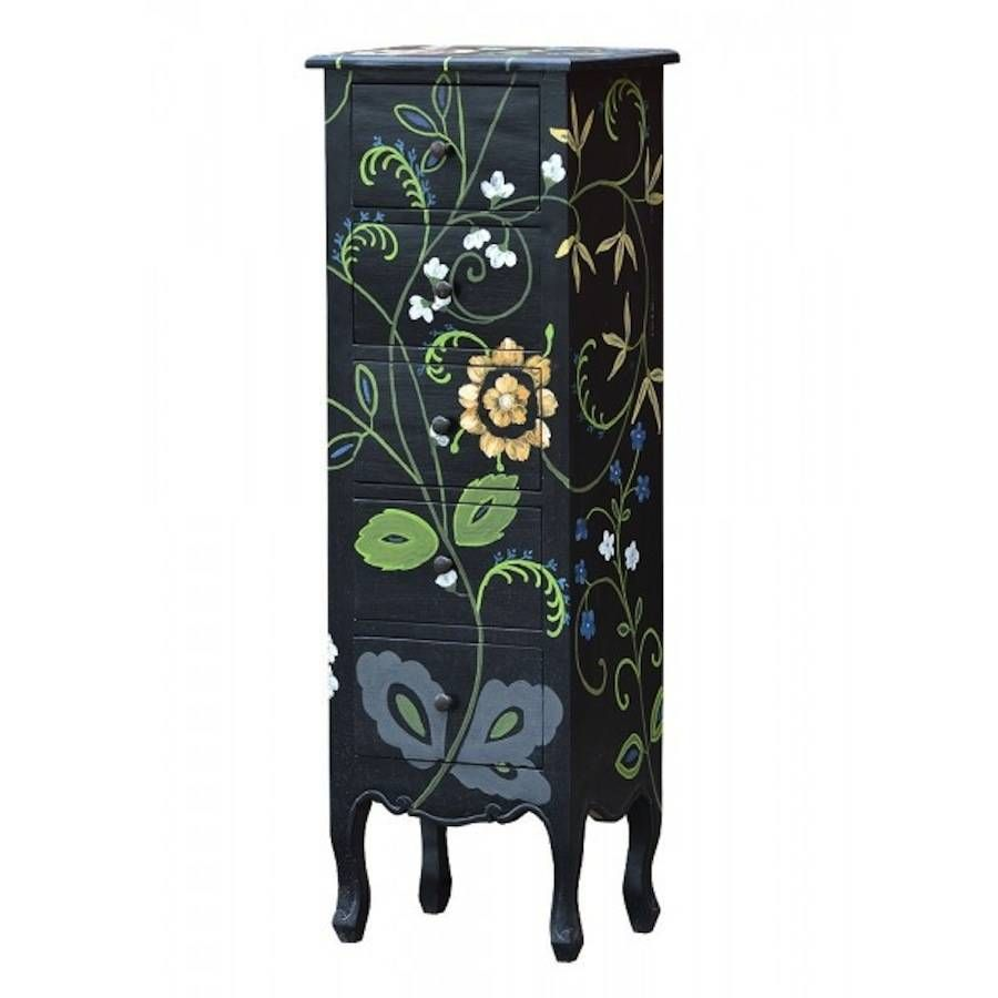 Painted Floral Chest Of Drawers